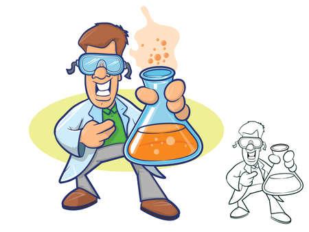 웃는 화학자는 실험실 코트를 입고 거품이 액체로 가득 찬 비커를 들고 그림