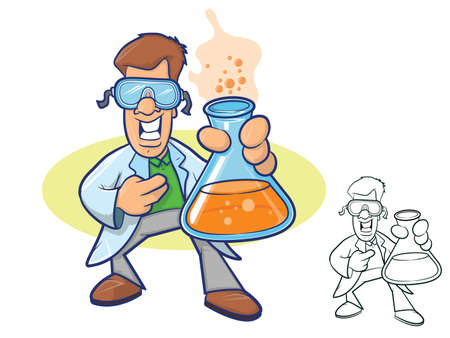 crazy: Illustration of a smiling chemist wearing a lab coat and holding a beaker full of bubbly liquid