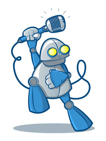Illustration of a retro robot holding a retro microphone Ilustrace