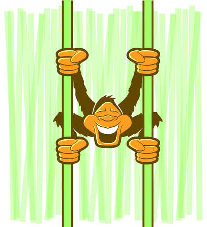 cheeky: Illustration of a monkey swinging on green vines