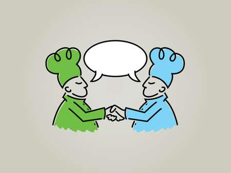 dandose la mano: Chefs Hablar de dibujos animados y estrechar la mano