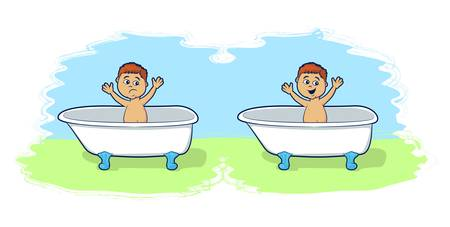 infant bathing: Illustrations of happy and sad child in a tub