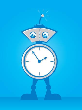 Illustration of a cute alarm clock robot Stock Vector - 20671143