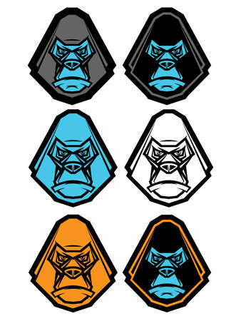Ape graphic illustrations in various styles Vector
