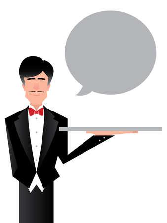 podnos: Ilustrace služebného charakteru drží prázdný stříbrném podnose