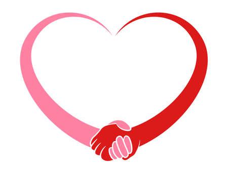 Illustration og a stylized heart holding hands Illustration