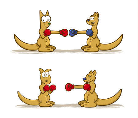 Collection of Kangaroo cartoons wearing boxing gloves Stock Vector - 21383140
