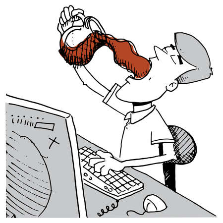 cubicle: A man sitting at his computer design pouring a pot of coffee into his mouth Illustration