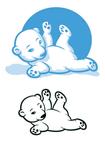 cub: Cartoon bear cub rolling around Illustration
