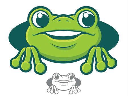 Cute green tree frog cartoon Vector