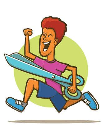 pair of scissors: Illustration of a man running with giant pair of scissors Illustration
