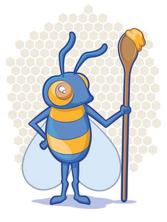 Cartoon Bee holding a spoon full of honey 일러스트