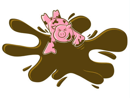 A happy pink pig rolls in the mud