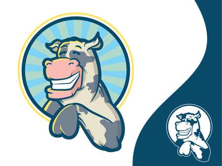 vaca caricatura: Icono de la vaca linda en un círculo varias