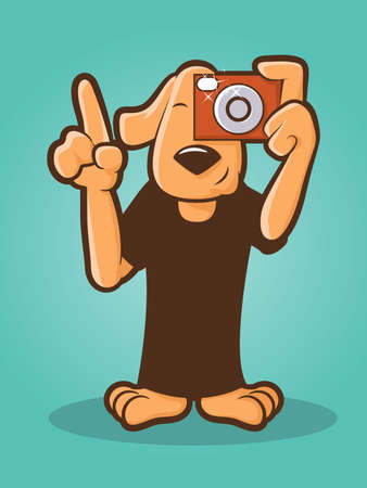 Illustration of a dog using a camera Vector