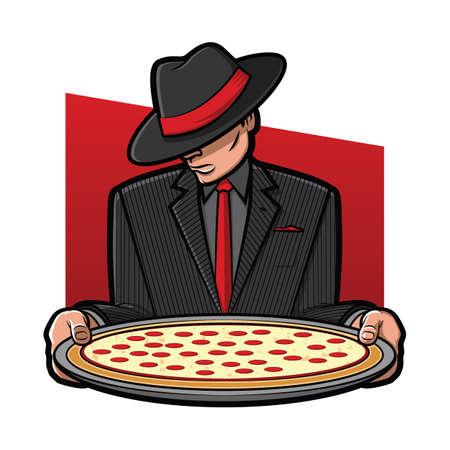 ピザのパイを保持しているギャングのイラスト