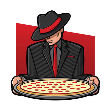 Illustration of a gangster holding a pizza pie Stock Illustratie