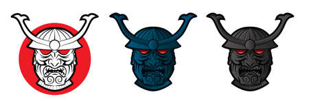 shogun: Collection of samurai faces with glowing red eyes Illustration