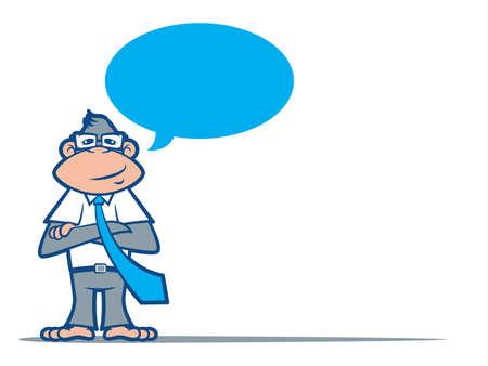 traits: Cartoon Monkey Nerd wearing a tie and talking