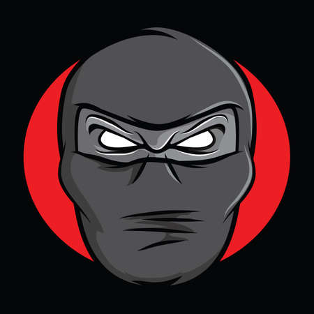 Illustration of an angry masked ninja Illustration