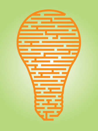 Illustration of a complex maze of ideas in a light bulb shaped outline Stock Illustratie