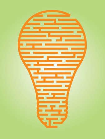 mind games: Ilustraci�n de un complejo laberinto de las ideas en un esquema en forma de bombilla