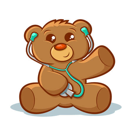 pediatrician: Cute stuffed teddy bear using a stethoscope