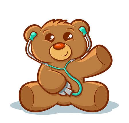 Cute stuffed teddy bear using a stethoscope