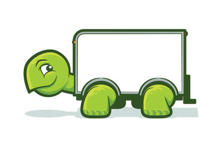slow: Cartoon tortoise with a box truck shell Illustration
