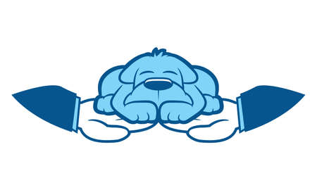 Cartoon dog sleeps in hands wrapped around him