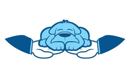 wrapped around: Cartoon dog sleeps in hands wrapped around him