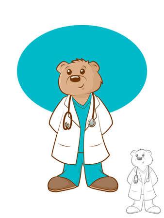 pediatra: Ilustración de un oso marrón que lleva una bata de laboratorio y matorrales