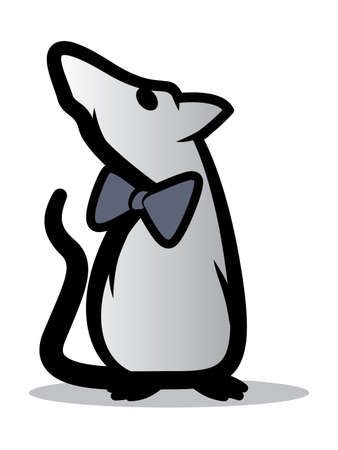 rata caricatura: Ilustraci�n estilizada de una rata que lleva una pajarita