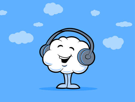 Illustration of a smiling cloud wearing headphones Stock Vector - 22158464