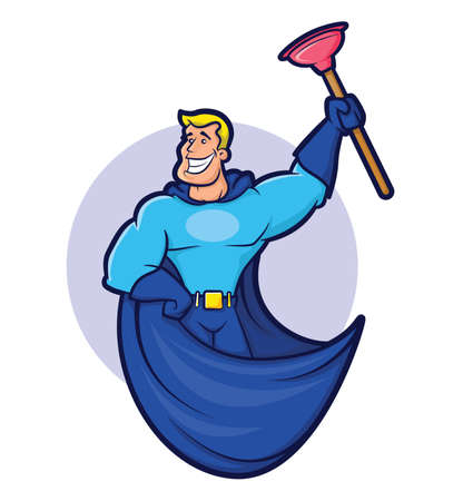 hero wearing a cape and holding a plunger Stock Illustratie