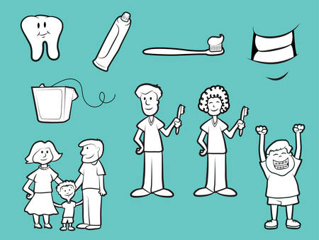 Collection of family dentist icons Vector