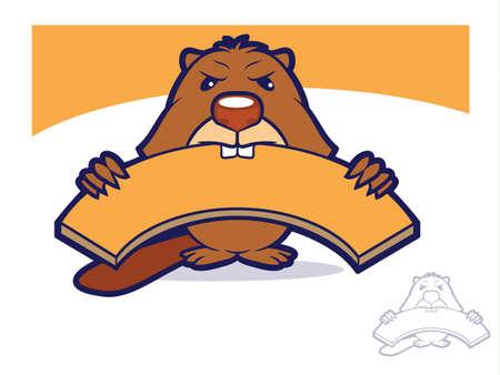 Cartoon beaver biting a wooden board