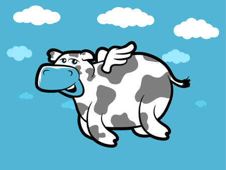 Flying Cartoon cow with tiny wings Illustration