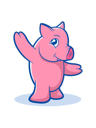 blushing: Illustration of a standing pig character Illustration