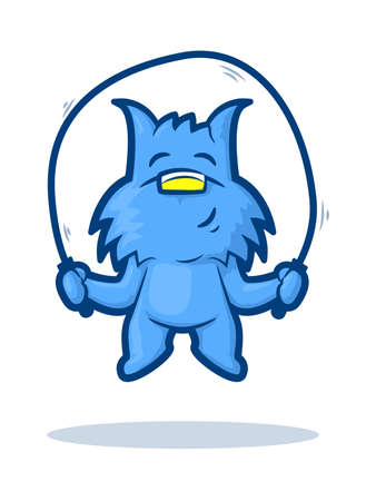 Cute blue dog jumping rope and smiling Stock Vector - 22970870