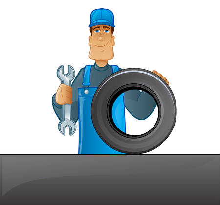 automotive industry: Illustration of a worker character