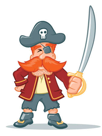 holing: Illustration of a pirate character holing a sword