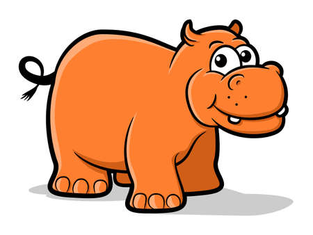 clipart wrinkles: Illustration of an orange hippo character