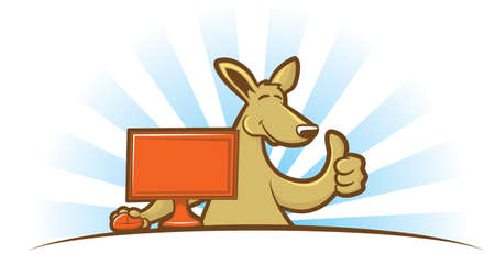 Cartoon kangaroo sitting at a computer giving a thumbs up sign Vector