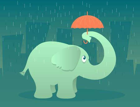 Illustration of an elephant standing in the rain under a tiny umbrella Stock Vector - 23291773