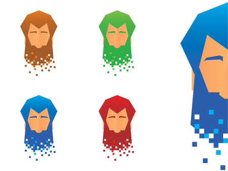 Bearded Face Character Illustration Vector