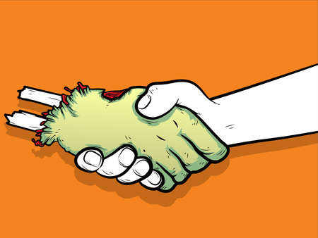 severed: Illustration of a handshake betreen a human and a severed zombie hand