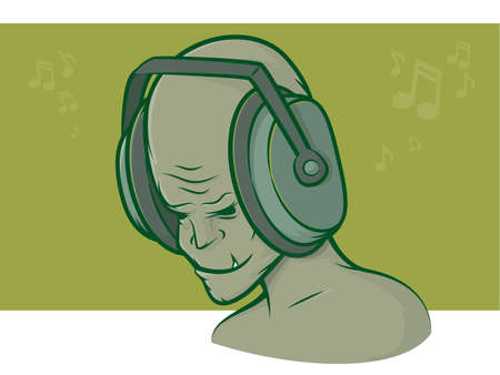 Illustration of a mean looking character listening to music Stock Vector - 23291777
