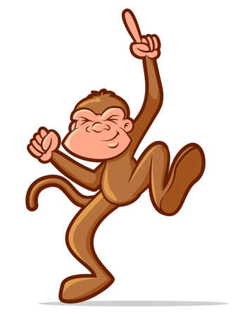 partying: Illustration of a chimp character dancing