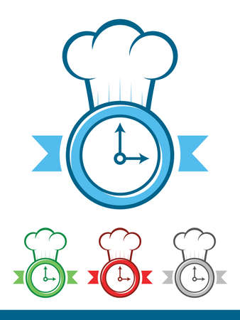 Icon of a clock wearing a chef hat Vector